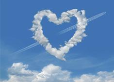 USB-Herz am Himmel Wolken Foto